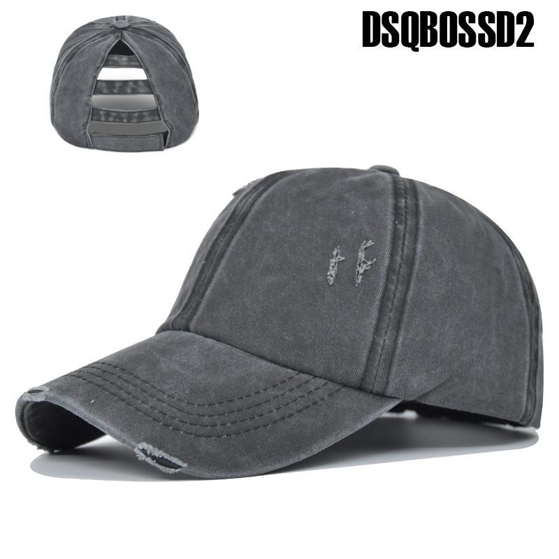 DSQBOSSD2 جديد الصيف قبعة حفرة الرجعية الرياضة المشي لمسافات طويلة قبعة انتعاش غسلها سقف القطن على شكل ذيل حصان عارضة قبعة بيسبول فضفاض السيدات قابل للتعديل