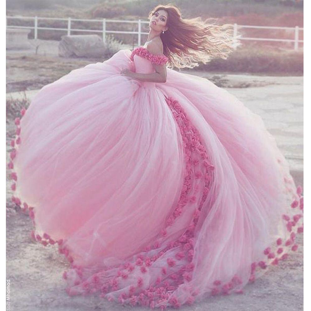 Modesto vestido de quinceanera vestido de bola rosa vestido de casamento floral fora do ombro flor vestidos de bola vestidos de noiva