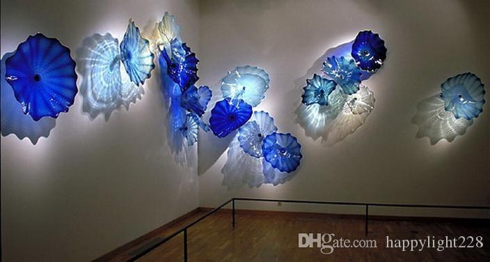 Heiße Verkaufs-Wand-Dekoration-Blumen-Kunst-Platten Sea Art Crystal Blue Farbe Chihuly Kunst geblasenem Glas-Wandleuchte