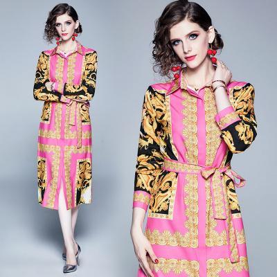 nouvelle arrivée Robe européenne Imprimer élégant Paisley rose nouée à la taille de la mode Party de bal élégante rue quotidienne des femmes Robes