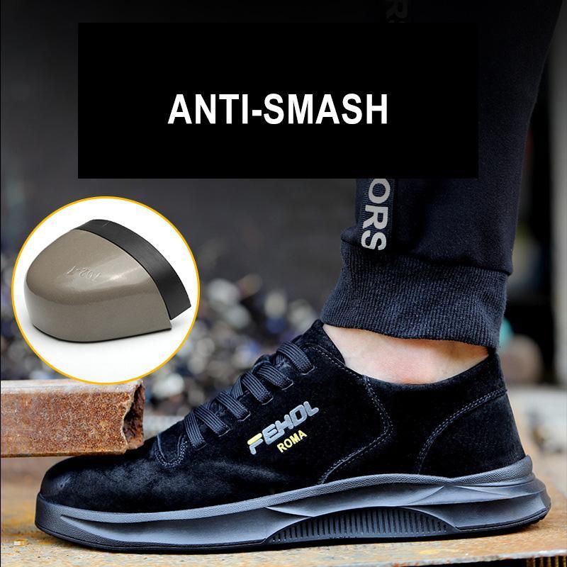 Manlegu Botas Trabajo indestructible zapatos de punta de acero de los hombres transpirable zapatos de las zapatillas de deporte de los hombres de seguridad indestructible de trabajo de cuero Botas