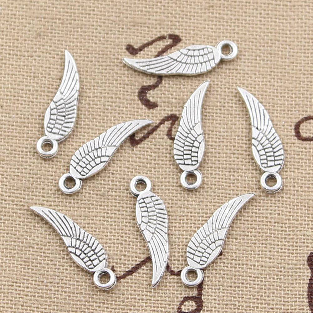 30pcs fascini angelo ali 19x5mm Antico Fare ciondolo in forma, vintage tibetano colore argento bronzo, gioielli fai da te a mano