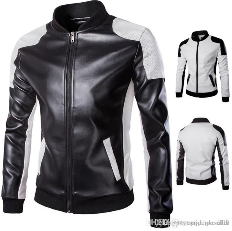 Erkek Tasarımcı Deri ceketler Artı boyutu panelli Standı Yaka Fermuar Fly Dış Giyim Moda Erkek Motosiklet Ceket