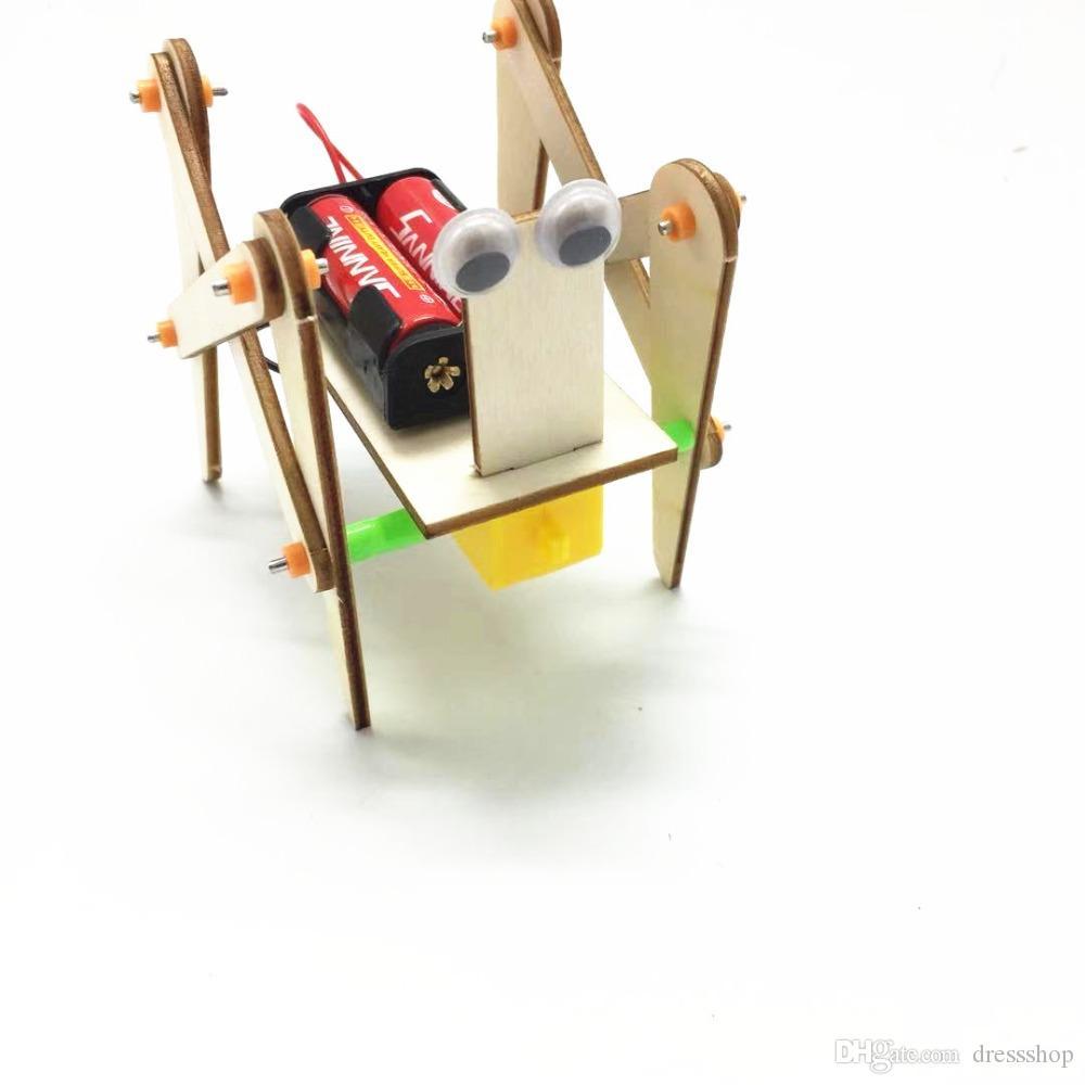 기술 작은 발명 슈퍼맨 전기 로봇 개 DIY 손으로 조립 퍼즐 장난감 네 다리 로봇