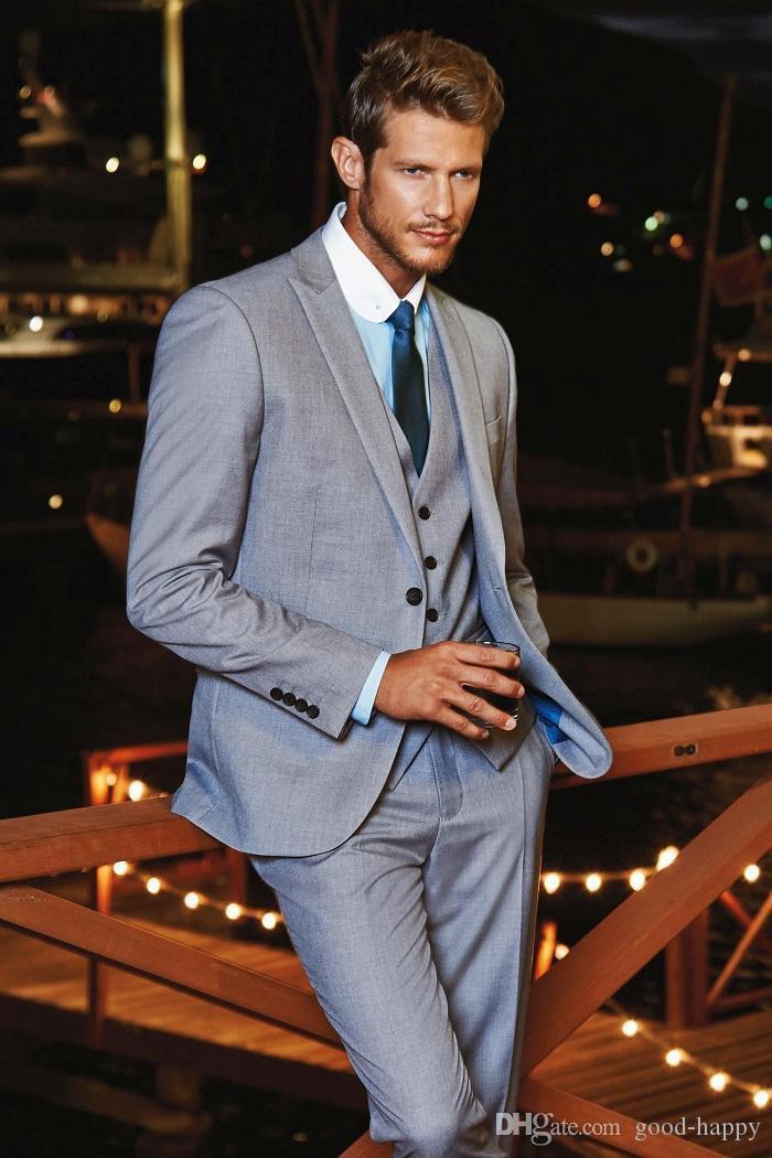 Graue Bräutigam Smoking Peak Revers Groomsman Hochzeit 3 Stück Anzug Mode Männer Business Prom Party Jacke Blazer (Jacke + Pants + Tie + Weste) 2488