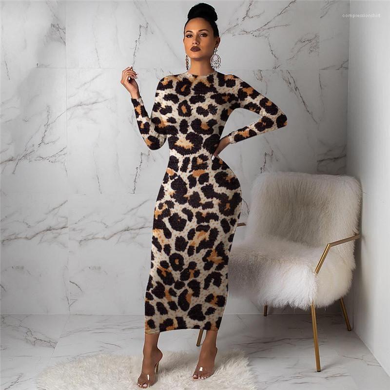 Designer Vestidos Moda Skinny manga comprida das mulheres Imprimir Casual Vestidos Primavera Outono fêmeas Roupa Leopard Womens