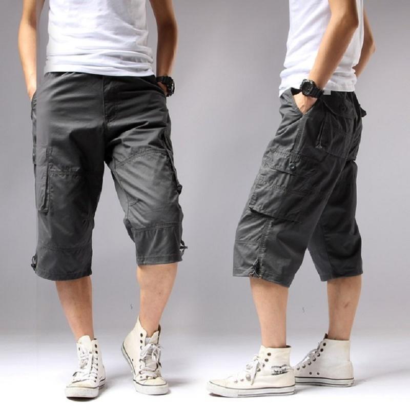 Verano 2018 de largo longitudinal de la carga hombres de los cortocircuitos del bolsillo de la rodilla algodón ocasional elástico de la cintura Bermudas macho Estilo Ejército Breeche