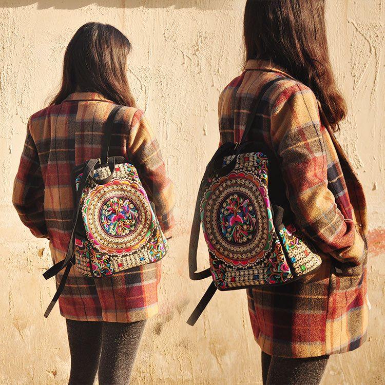 Weinlese-Stickerei ethnische Rucksack Frauen handgemachte Blume gestickte Tasche Mädchen Reisetaschen Schultasche Rucksack Großhandel JJ221