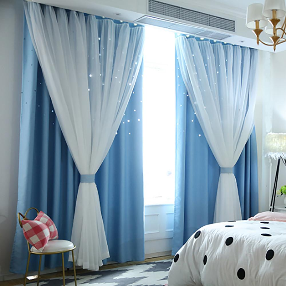 Cortina de la ventana del cielo estrellado de la nueva manera de cortina escarpada Tul Ventana Tratamiento gasa drapeada cenefa de dos pisos Decoración