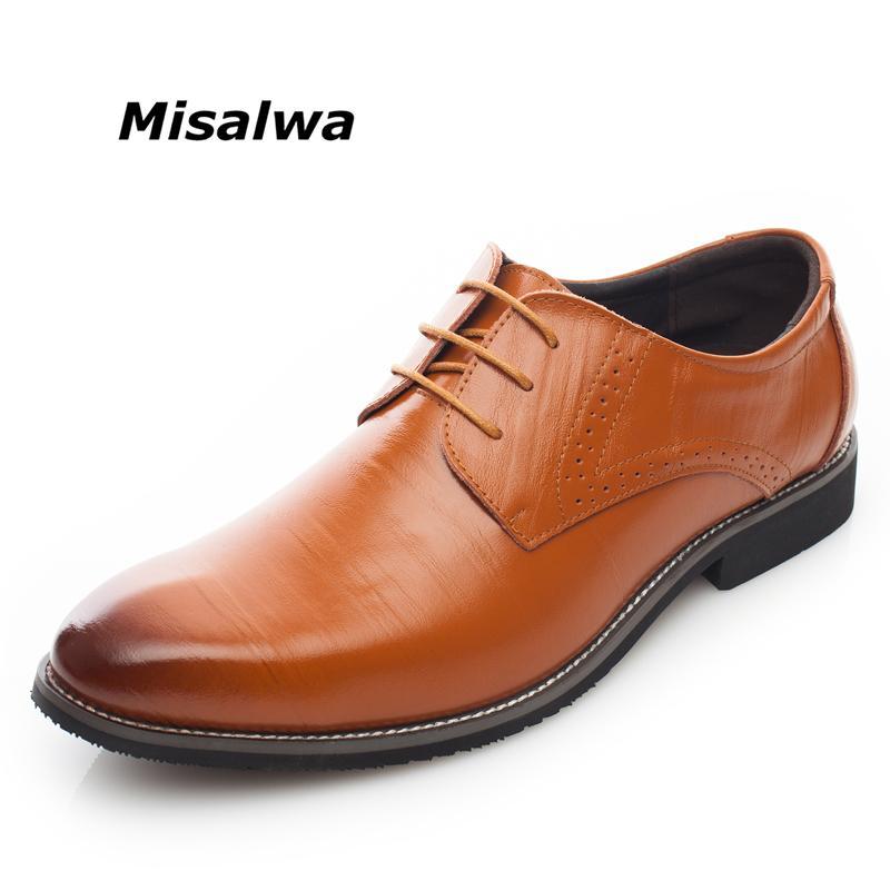 Misalwa Jaune Marron Bleu Hommes Robe en cuir Chaussures Hommes d'affaires Bureau formel Chaussures à lacets Oxford Form Plus Taille 38-48
