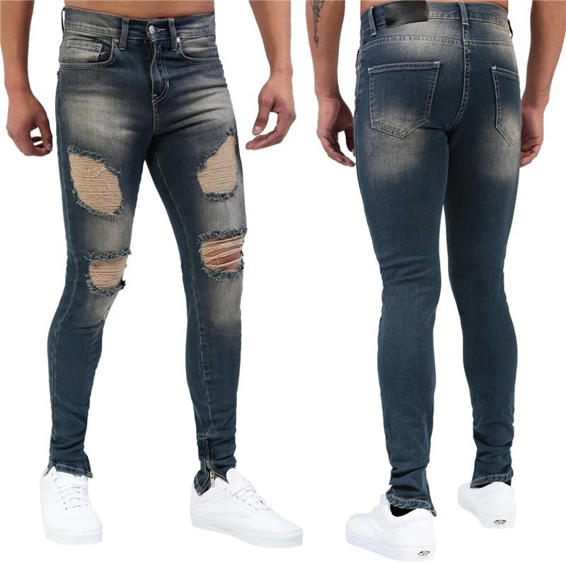 Mens Casual Designer Jeans Fashion Deep Blue Distrressed Washed Skinny Pencil Pants Mens Mid Waist Jeans