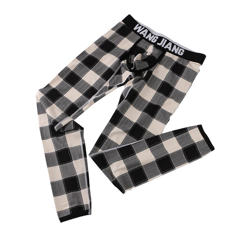 Hommes d'hiver long sommeil Pantalons mince Sous-vêtements thermiques Hommes Mode Plaid Bas Hommes Pantalons chauds Mode Sous-vêtements sexy Legging