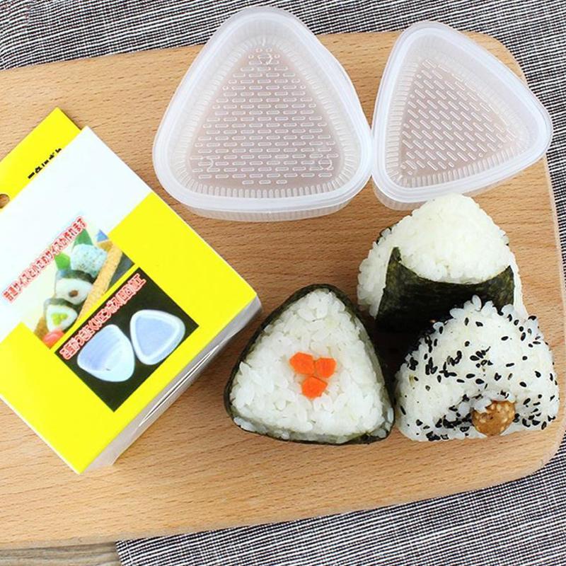 2Pcs / Set DIY Sushi Moule onigiri Boule de riz alimentaire Presse Triangular Sushi Maker Mold Sushi Kit Outils de cuisine Bento japonais DBC BH3554