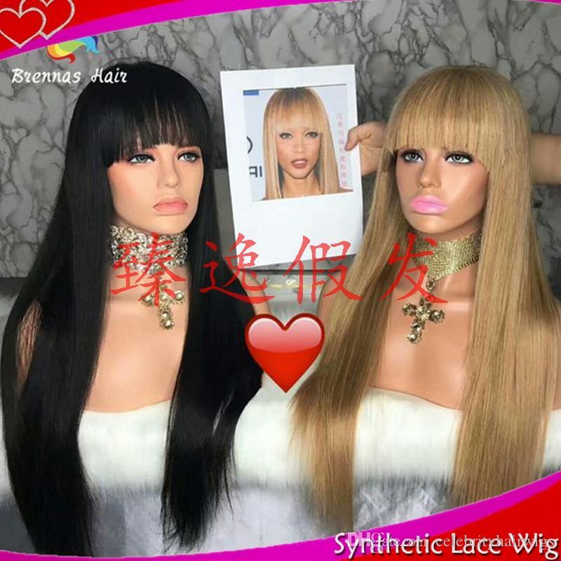 MHAZEL Fibre Hair هامش 1B Black27 # شقراء طويل مستقيم الاصطناعية الرباط الجبهة الباروكة للنساء البيض مع الانفجارات