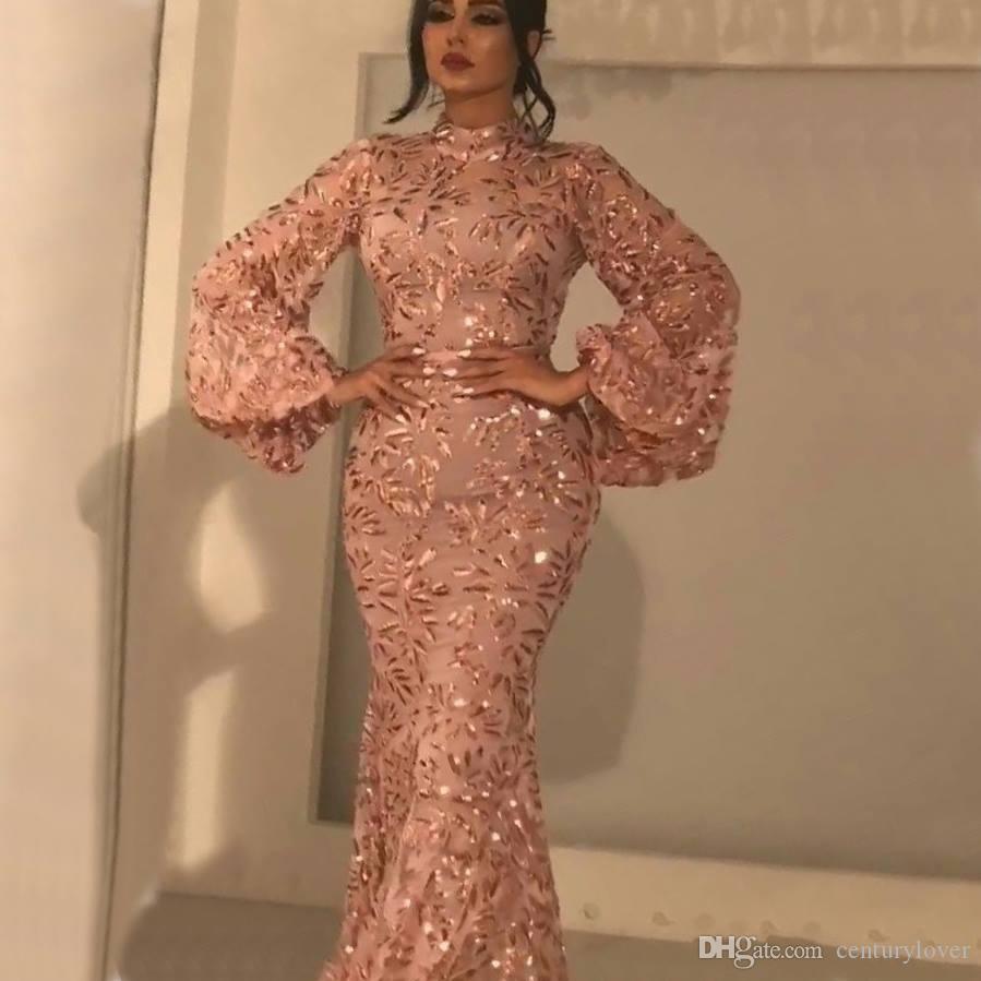 Alta Sexy Bling della sirena dei vestiti da sera collo lungo Poeta maniche Paillettes cristallo Lunghezza Piano Dress Plus Size partito formale spettacolo promenade