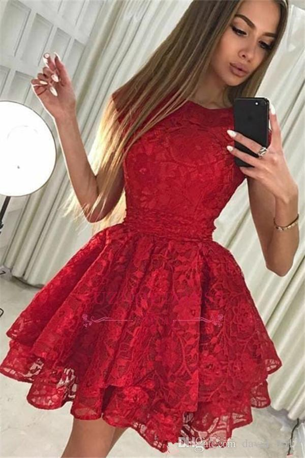 2019 Abiti da cocktail economici Red Lace breve vestito Homecoming Summer A Line Juniors Party Prom Dress Plus Size Custom Made N36