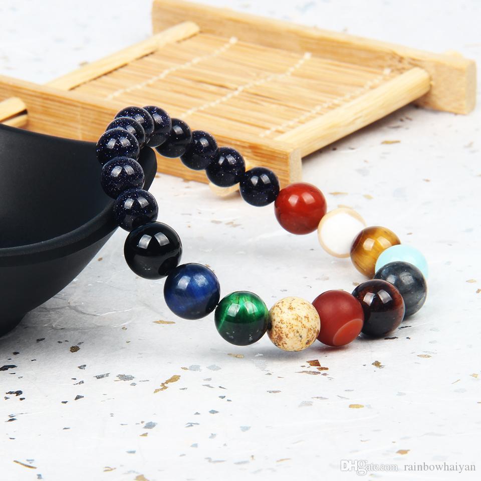 Hot Sale Stone Jewelry Eight Planets Beaded Bracelet Men Natural Mix Stones Universe Yoga Chakra Solar Bracelets Jewelry