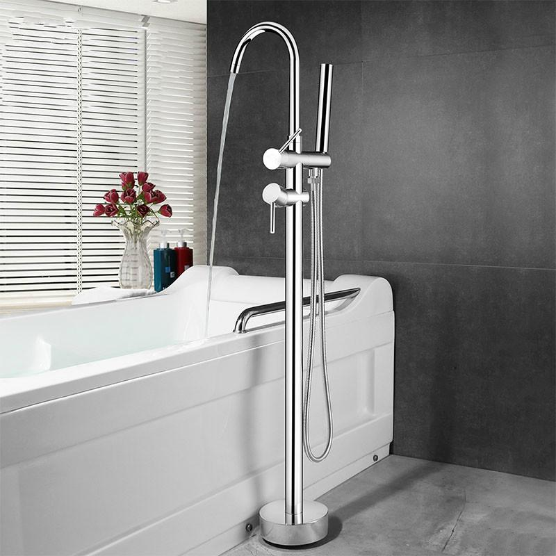 2020 Floor Mounted Stand Bathroom Bathtub Faucet Brass High