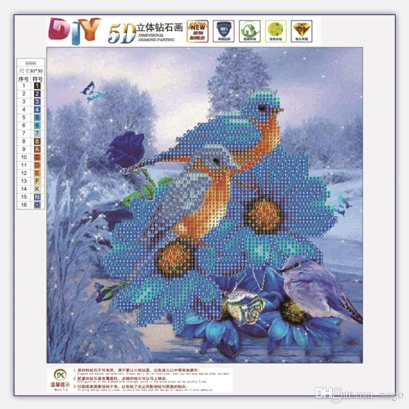 2 vögel 5d diy runde diamant malerei stickerei kits hand set kreuzstich mosaik kunst handwerk wohnkultur geschenk hohe qualität