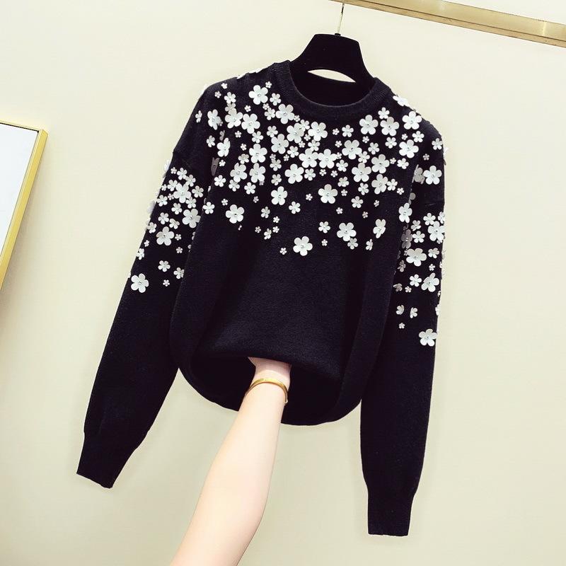 Черный вышитый цветочный свитер Свитера трикотаж женский пуловер свитер взлетно посадочная полоса джемпер водолазка Nancylim