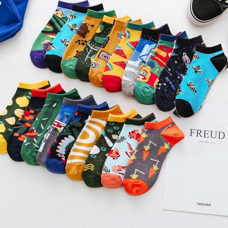 Gıda, Görünmez, düşük kesim, Casual, nefes alabilen, kısa Unisex, serin eğlenceli için kadınlar için renkli pamuk ayak bileği çorap, 1 çift