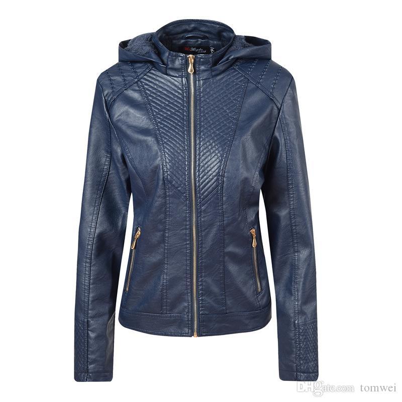 faux leather Jacket Women hoodies Winter Autumn Motorcycle Jacket Outerwear Biker Jacket Coats Fur Outerwear Overcoat New Fashion 2019