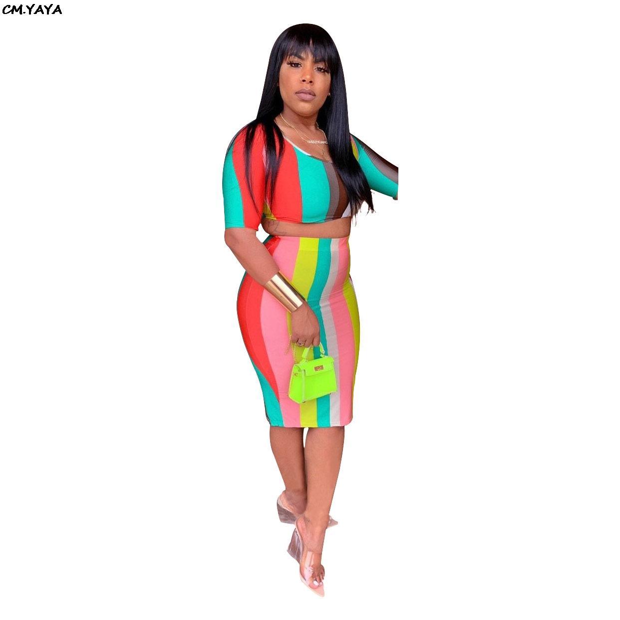 femmes robe rayures colorées d'été o-cou courte longueur supérieure tee manches genou jupe costume deux pièces midi ensemble U7072 robe moulante