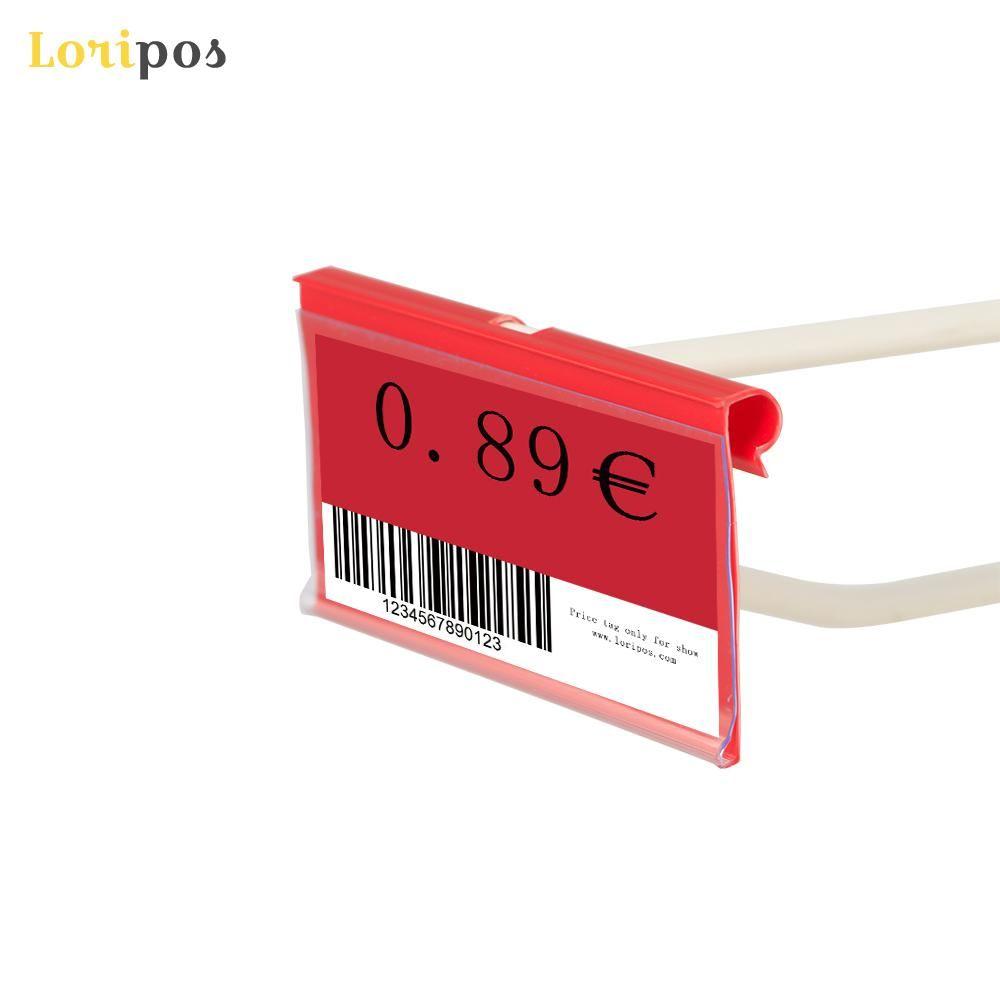8 / 10x4 / 4.5CM البلاستيك PVC بطاقة الثمن تسجيل تسمية العرض حاملي شنقا ملون للحصول على سوبر ماركت تخزين الجرف الرف خطاف 100pcs التي