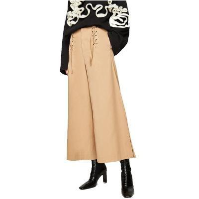 cloth Women Khaki Paperbag Waist Pants Cross Bandage Wide Leg Pants Bottom Cut High Waist Trousers Fashion Streetwear