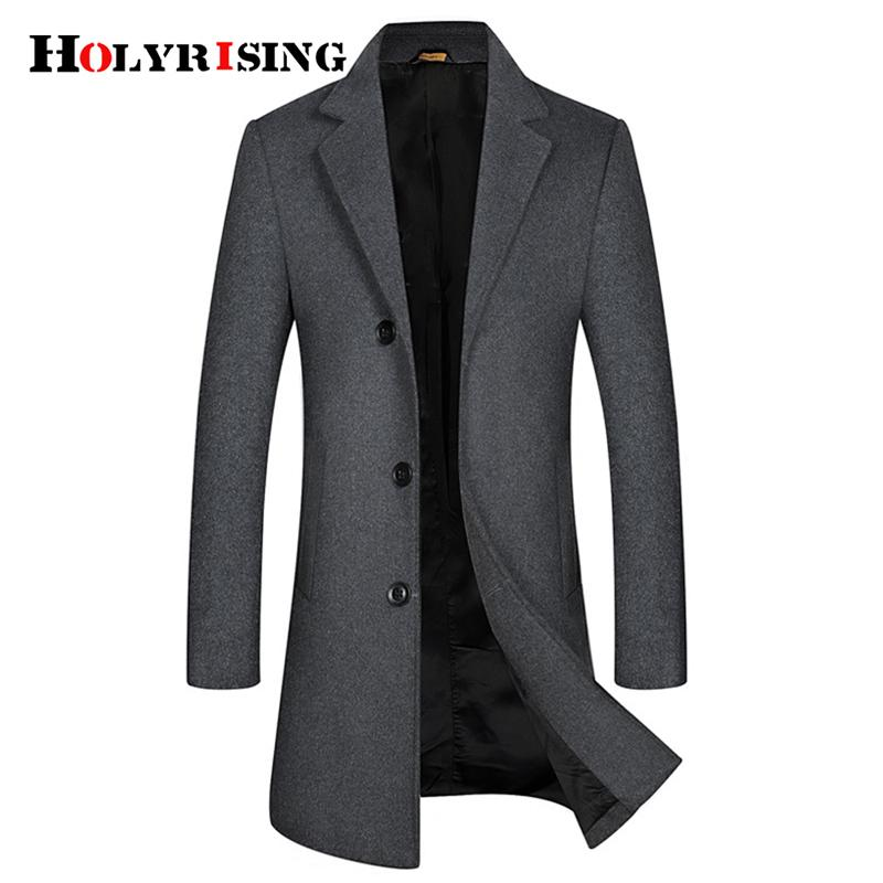 Holyrising New Men Wool Coats Warm Hombre Ccoat Slim Winter Jacket Comfortable Overcoat Mens Coat Business Male overcoat 19042-5