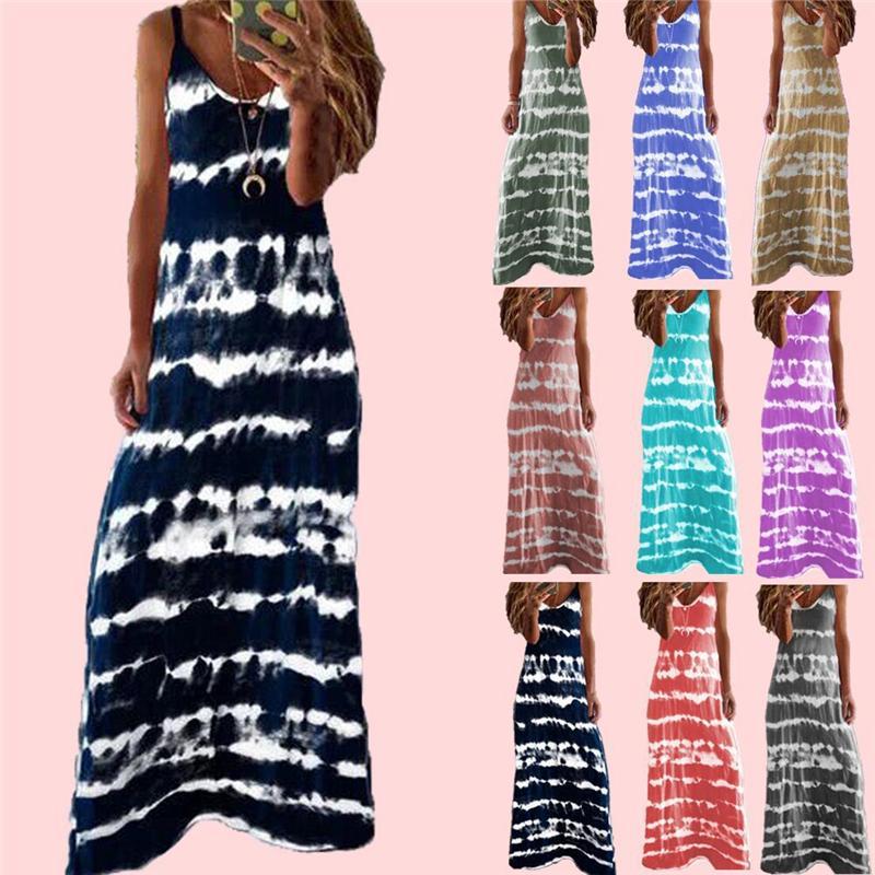 Sommer-Kleid 2020 Neue heißen Verkauf in Europa und Amerika Art und Weise Kleid Druck Tank Top-Kleid Striped