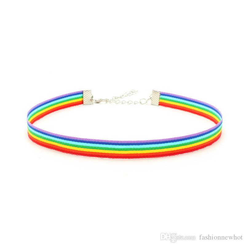 Gay Pride Rainbow Chokers Necklaces LGBT Gay and Lesbian Pride Lace Chocker Ribbon Collar Statement Necklace Jewelry for Men Women DHL