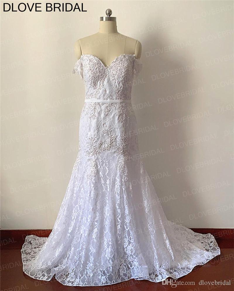 Lace Mermaid Vintage vestido de noiva pérola frisada Lace apliques vestido nupcial de alta qualidade Personalizar Dresses Fábrica Real Fotos
