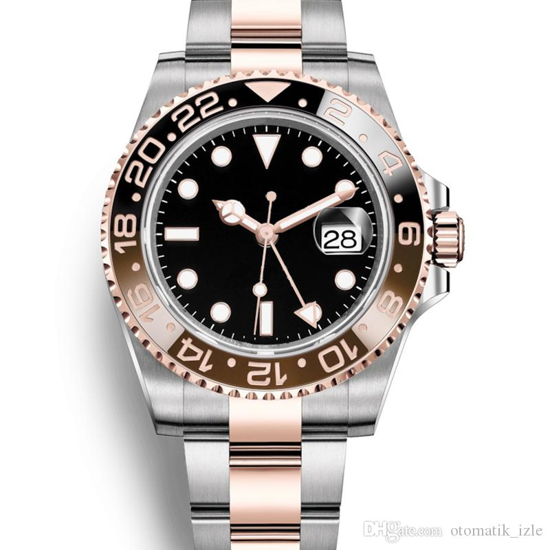 GMT high quality fashion men's watch ceramic all stainless steel super bright 5 ATM waterproof sapphire glass sports automatic mechanical wa