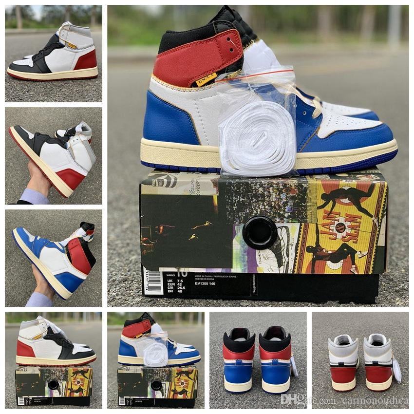 NIKE 2020 Haute Qualité Union LA x 1 Haute OG NRG Blanc Blue Storm Varsity Red Wolf Gris Basketball Chaussures Hommes 1s Sneakers 36-45