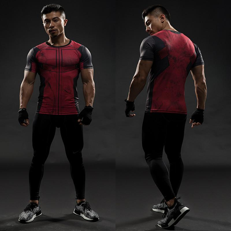 Deadpool Short Sleeve T shirts Men Compression Shirt 2017 New Cosplay Costume Crossfit Tops For Male Fitness Clothing