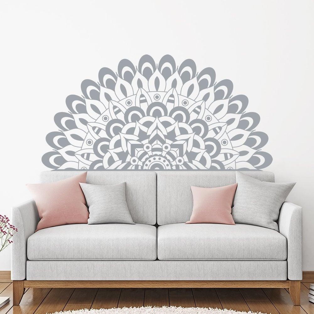 la metà mandala yoga arredamento camera da letto testata parete decalcomanie Removeable del vinile a Home Living Room Decor Accessori Sticker