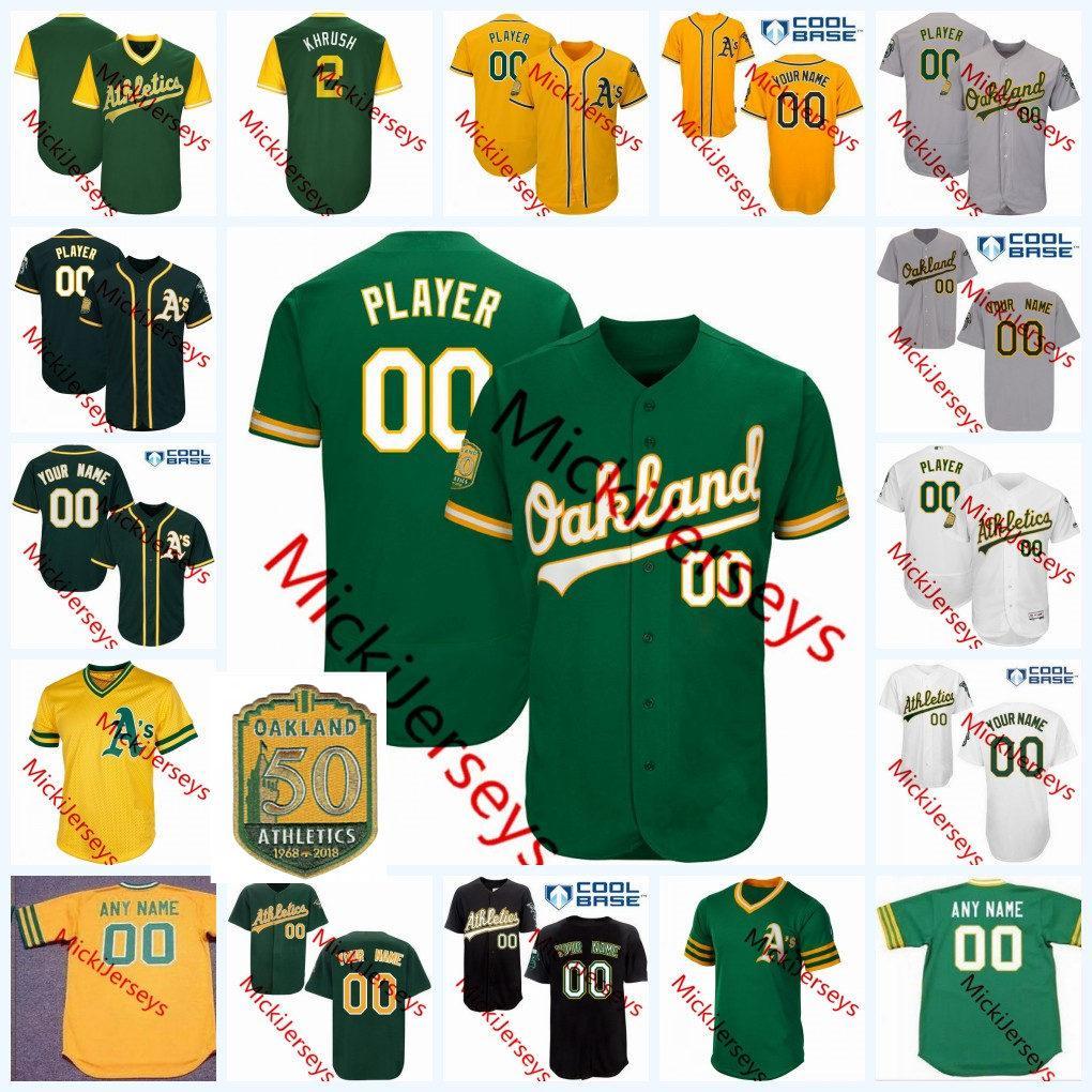 buy popular e5260 b78ab 2019 Custom Oakland Baseball Jersey Khris Davis Sean Manaea Josh Phegley  Franklin Barreto Dustin Fowler Matt Chapman Kendall Graveman Jersey From ...