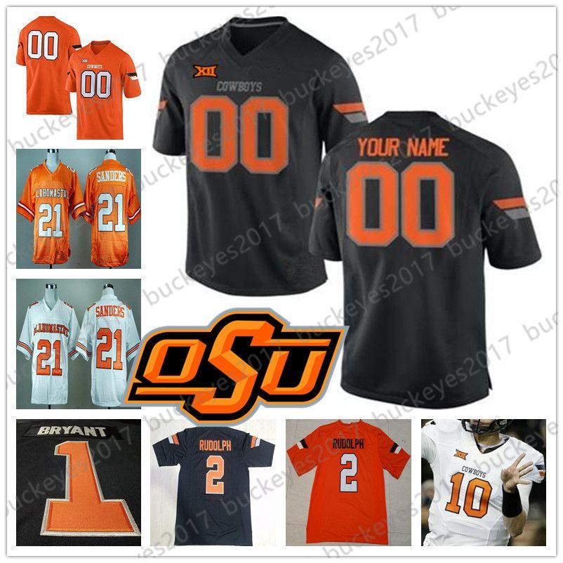 Custom Oklahoma State Cowboys Футбол черный оранжевый белый Джерси сшитое любое имя номер 14 Тейлор Корнелиус 2 Тилан Уоллес 5 Джастис Хилл