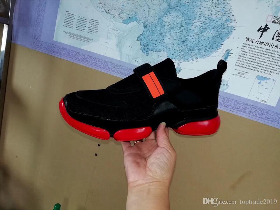 Remiendo rojo Cloudbust zapatilla de deporte de los calzados informales Negro Hombres Mujeres Cloudbust zapatos bajos Top malla plana zapatilla de deporte de lazo Estilo de la correa