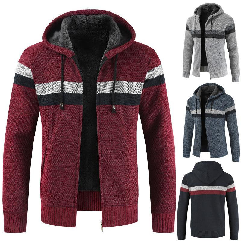 Designer Maglione cappotto degli uomini 2019 di modo di inverno caldo di spessore con cappuccio cardigan a righe Ponticelli Uomini Zipper cappotti uomini dimagriscono contrasto di colore Top M-3XL