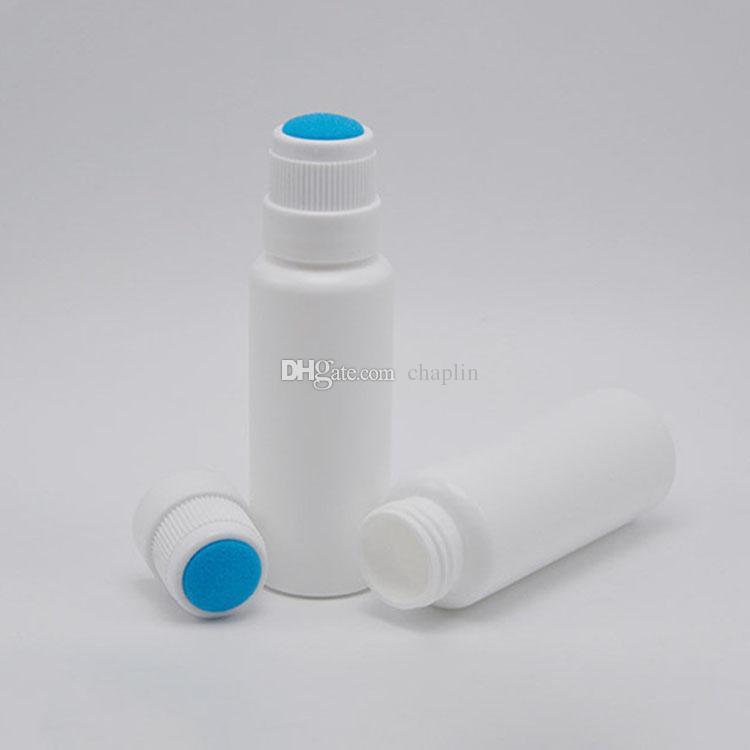 30g 50ml Plastik Sünger Aplikatör Şişeler HDPE Beyaz Boş Silindir Mavi Sünger Kafası ile Şişe Tüpü