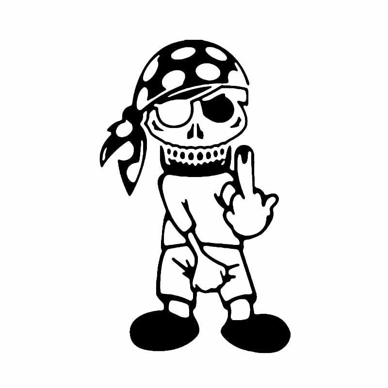 * 10,1 cm 16.5CM drôle Pirate doigt crâne Decal vinyle beau et autocollants frais autocollant de voiture Décor voiture
