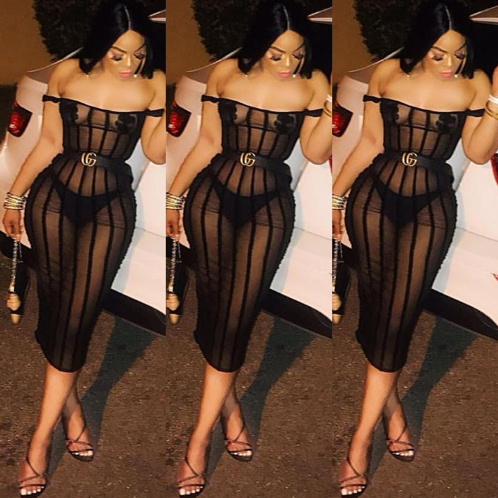 La calle del verano de la moda Color Negro vestido del remiendo vestidos de las mujeres rayado frente a la barra del cuello del hombro de cintura alta Sexy ropa de fiesta