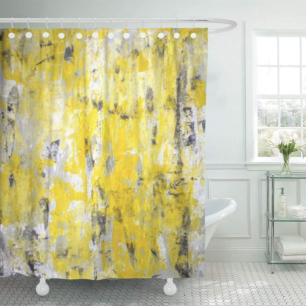2019 Shower Curtain Hooks Contemporary Grey Yellow Abstract Painting Gallery Interior Knife Lines Modern Decorative Bathroom From Harriete 27 86