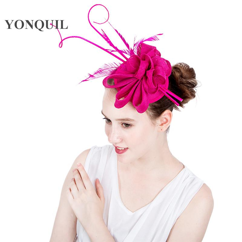 Hot Pink evento bello fascinators di nozze donne fedora cappello d'epoca Elegnat copricapo femminile con accessori per capelli fascia