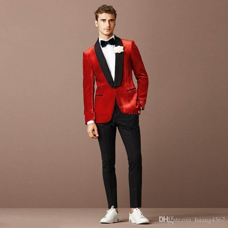New Popular Design One Button Rot Hochzeit Bräutigam Smoking Schal Revers Groomsmen Mens Dinner Blazer Anzüge (jacke + Pants + Tie) 409
