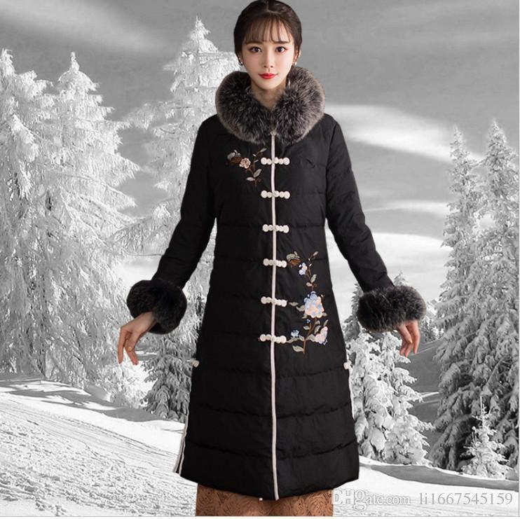 Down Jacket Female Pop Raccoon Skin Large Fur Collar Long Section Cold Tang Suit Winter Long Sleeve Chinese Retro National Wind Embroidery D