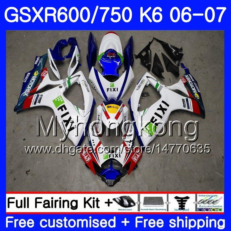 Corps pour Suzuki Stock Couleur Hot GSXR 750 600 GSX R600 R750 GSXR750 06 07 296HM.5 GSX-R600 06 07 GSXR-750 K6 GSXR600 2006 Kit de carénage 2007
