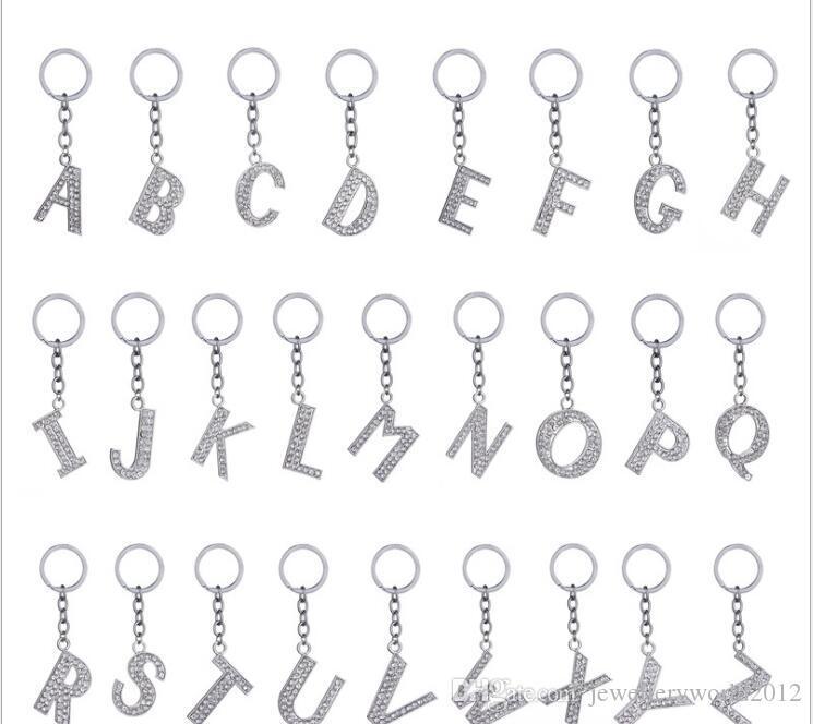 حار بيع الأزياء في أوروبا 26 الإنجليزية خطابات حجر الراين سلسلة مفتاح الكريستال